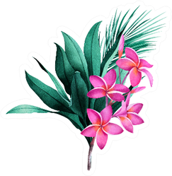 Composition Of Tropical Plants And Plumeria Flowers Sticker