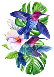 Composition With Hummingbirds And Tropical Plants Sticker