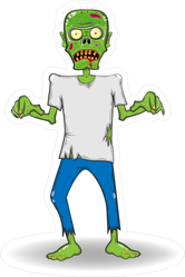 Confused Zombie Walking Sticker