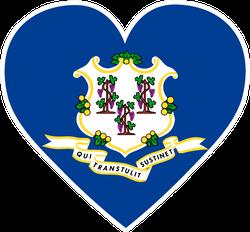 Connecticut Flag Heart Sticker