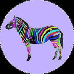 Contemporary Art Collage Colorful Zebra Sticker