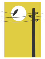Contemporary Art Poster With Crow On Wire Yellow Sticker