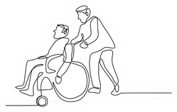 Continuous Drawing Of A Young Man Pushing Wheelchair Sticker
