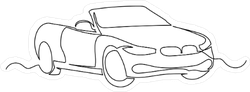 Continuous Line Art Convertible Car Sticker
