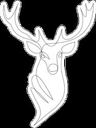 Continuous Line Art Deer Head Sticker