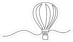 Continuous Line Drawing Of A Hot Air Balloon Sticker