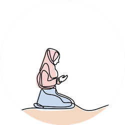 Continuous Line Drawing Of A Muslim Women Praying Sticker