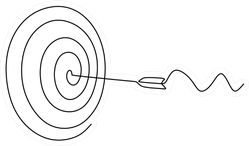 Continuous Line Drawing Of Arrow In Center Of Target Sticker