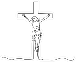 Continuous Line Drawing of Crucified Jesus Sticker