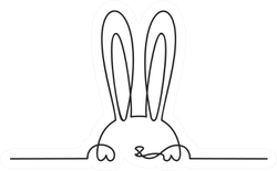 Continuous Line Drawing Of Easter Rabbit Sticker