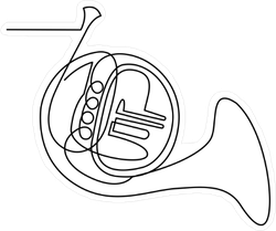 Continuous Line Drawing Of French Horn Sticker
