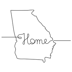 Continuous Line Drawing Of Georgia Home Sticker