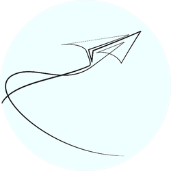 Continuous Line Drawing Of Paper Airplane Illustration Sticker