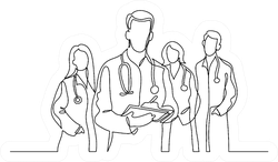 Continuous Line Drawing Of Team Of Doctors Sticker