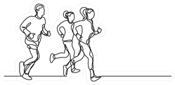 Continuous Line Of Three Runners Stickers