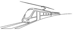 Continuous One Line Drawing Modern High Speed Commuter Train Sticker