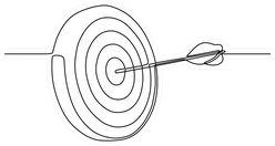 Continuous One Line Drawing Of Arrow In A Target Sticker