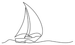 Continuous One Line Drawing Of Sailboat Sticker