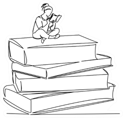 Continuous Single Drawn Line Girl Sits On Books And Reads Sticker