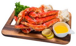 Cooked Organic Alaskan King Crab Legs On Wooden plate Sticker