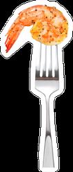 Cooked Shrimp On Fork Sticker