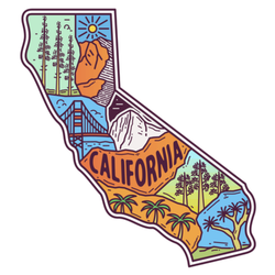 Cool California Map Illustration Sticker