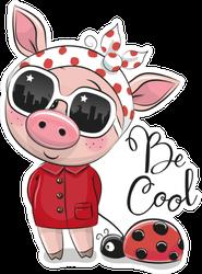 Cool Cartoon Cute Pig Ladybug Sticker
