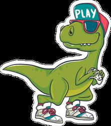 Cool Green Dinosaur Sticker