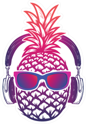 Cool Pineapple With Sunglasses And Headphones Sticker