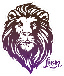 Cool Purple and Black Lion Head Illustration Sticker