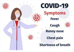 Coronavirus Symptoms With Doctor Sticker