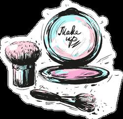 Cosmetics Make Up Brushes Sticker