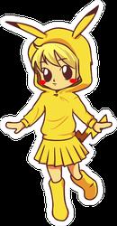 Cosplay Girl Cartoon Anime Sticker