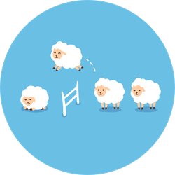 Counting Sheep To Fall Asleep On Blue Sticker