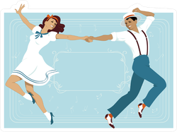 Couple Dressed In 1940s Fashion Dancing Theater Style Sticker
