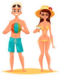 Couple On Holiday At The Beach Drinking Cocktails Sticker