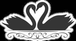 Couple Swans Silhouette Icon Romantic Illustration Sticker