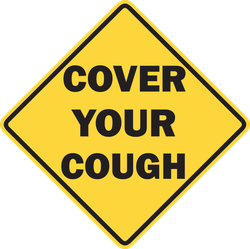 Cover Your Cough Danger Sign Sticker