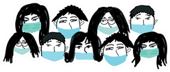 Covid-19 Medical Masks Group Of Cartoon People Sticker