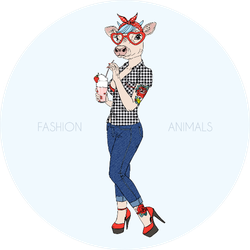 Cow Girl Dressed Up In Rockabilly Style Sticker