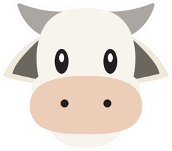 Cow Head Vector Emoji Flat Design Sticker