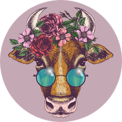 Cow Portrait With Floral Wreath And Round Sunglasses Sticker