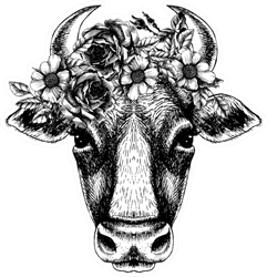 Cow Portrait With Floral Wreath Hand Drawn Sticker
