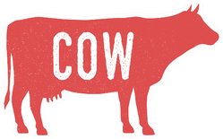 Cow Silhouette With Grunge Text Sticker