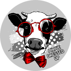 "Cow With Bow And Glasses ""I Have Dressed Up"" Sticker"