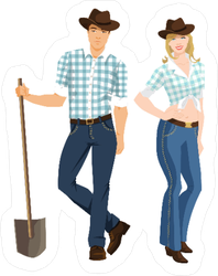 Cowboy and Cowgirl Couple Sticker