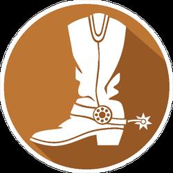 Cowboy Boot Circle Sticker