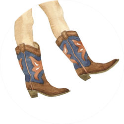 Cowboy Boots Illustration By Watercolor Sticker