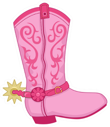 Cowboy Boots Pink Rodeo Sticker