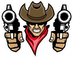 Cowboy Mascot Dual Wielding Pistols Stickers